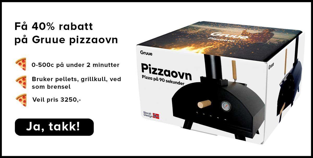 Tilbud på vedfyrt pizzaovn fra Gruue